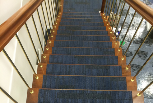 Example Commercial Carpet on stairs by UK3Floor of Northampton