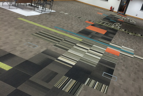 Example of a multi coloured Commercial Carpet by UK3Floor of Northampton